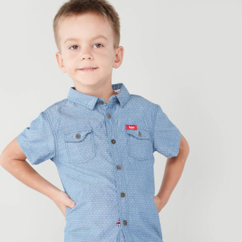 Lee Cooper Printed Shirt with Short Sleeves and Chest Pocket Detail