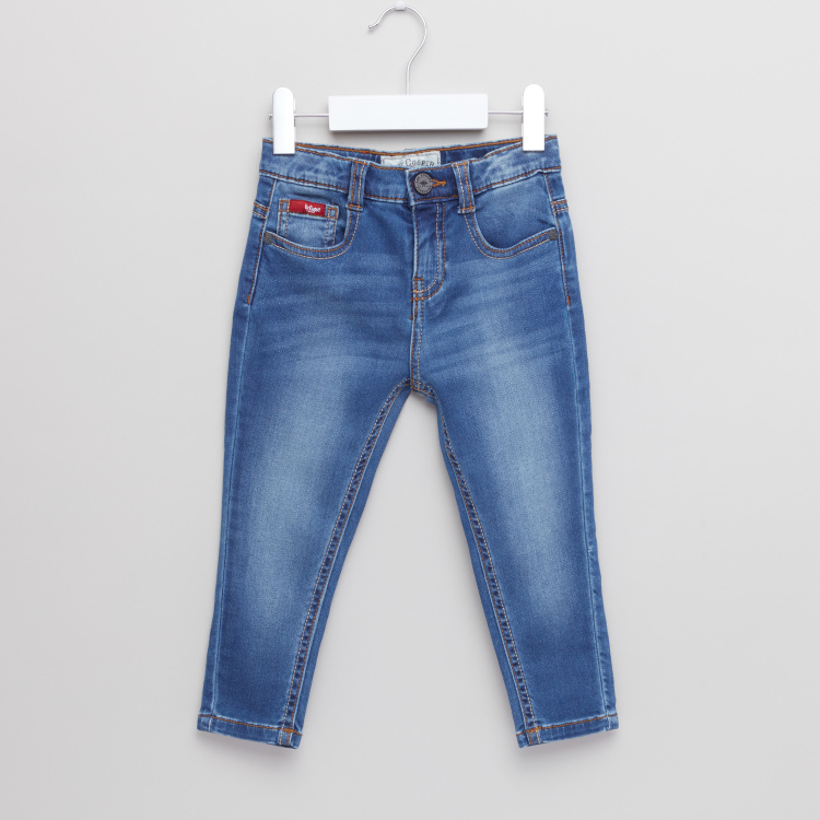 Lee Cooper Full Length Jeans with Button Closure and Pocket Detail