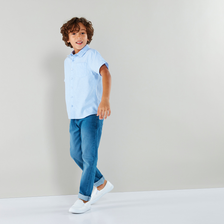 Juniors Short Sleeves Chest Pocket Detail Shirt