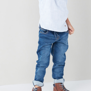Juniors Denim Pants with Pocket Detail and Drawstring
