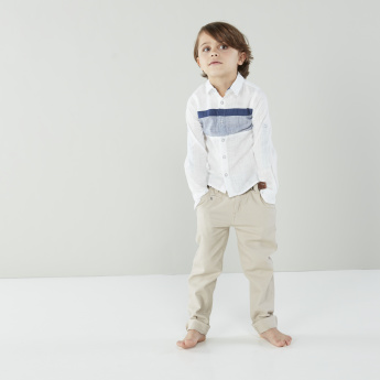 Juniors Long Sleeves Shirt with Spread Collar and Complete Placket
