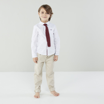 Juniors Printed Shirt with Long Sleeves and Neck Tie