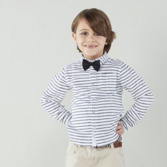 Juniors Striped Shirt with Long Sleeves and Bow Tie