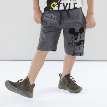 Mickey Mouse Printed Knit Shorts with Elasticated Drawstring Waistband