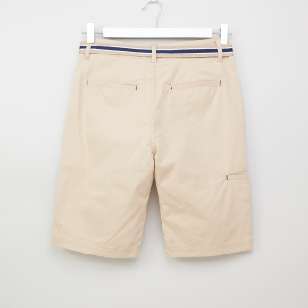 Posh Clothing Flat-Front Cotton Shorts