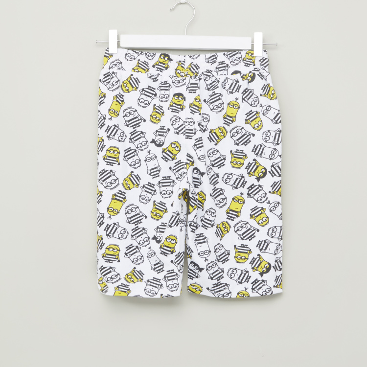 Minions Printed Shorts with Pocket Detail and Drawstring