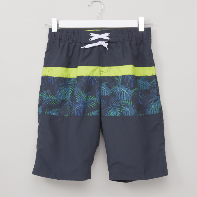 Posh Printed Swimwear Shorts with Elasticised Waistband and Drawstring