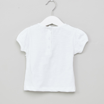 Juniors Solid Top with Ruffle Applique Detail
