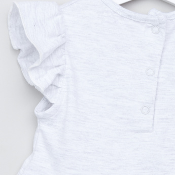 Juniors Cotton Top with Ruffled Cap Sleeves