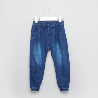 Juniors Denim Pants with Elasticised Waistband and Bow Detail