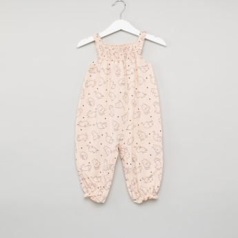 Juniors Printed Sleeveless Jersey Romper with Smocking Detail