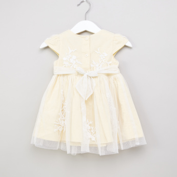 Juniors Embroidered Cap Sleeves Dress