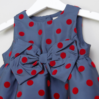 Juniors Bow Applique Detail Sleeveless Dress