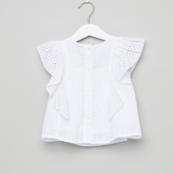 Giggles Embroidered Ruffle Detail Top