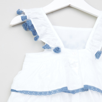 Giggles Embroidered Frill and Tassel Detail Dungarees