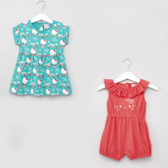Hello Kitty Printed Dress with Ruffle Detail Romper