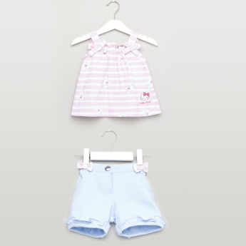 Sanrio Floral Printed Striped Top and Shorts Set