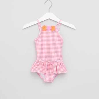 Juniors Chequered Applique Detail Swimsuit