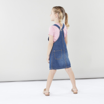 Juniors Denim Pinafore Dress with Pocket Detail