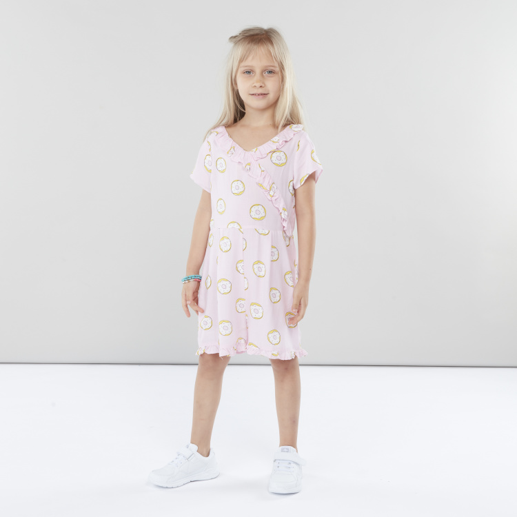 Juniors Printed Flared Playsuit with Ruffle Detail