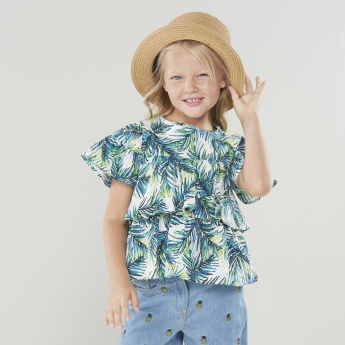 Juniors Tropical Printed Layered Top