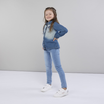 Juniors Denim Shirt with Long Sleeves and Pocket Detail