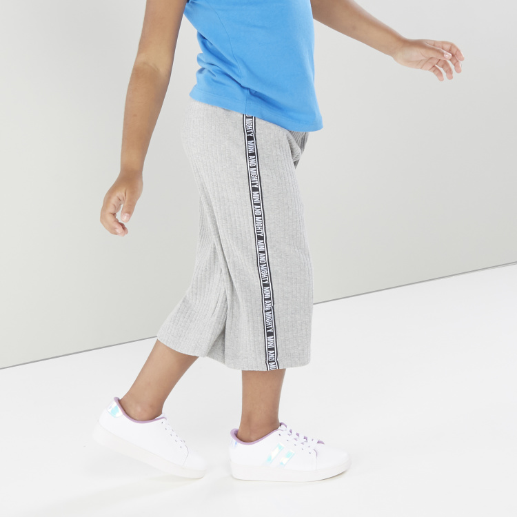 Juniors Textured Pants with Side Tape Detail