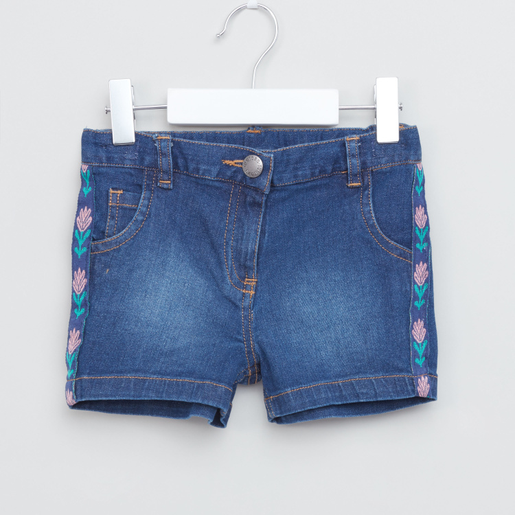 Juniors Printed Tape Detail Shorts with Button Closure