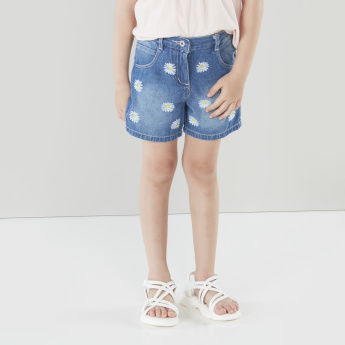 Juniors Printed Denim Shorts with Pocket Detail and Belt Loop