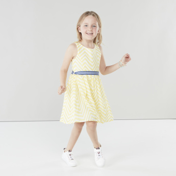 Juniors Printed Sleeveless Dress with Tie-Up Belt
