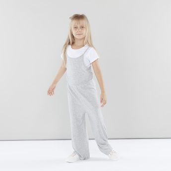 Juniors Round Neck T-shirt and Ribbed Jumpsuit
