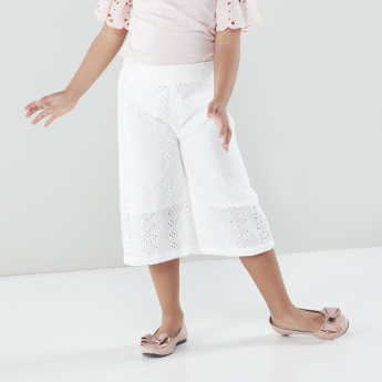 Juniors Schiffli Detail Culottes with Elasticised Waistband