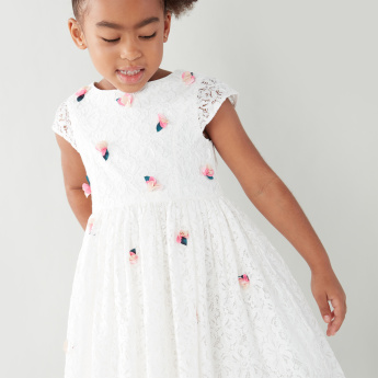 Juniors Lace Dress with Round Neck and Floral Applique Detail