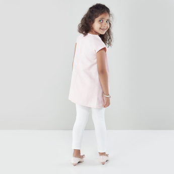 Juniors Pleated Cap Sleeves Tunic with Leggings