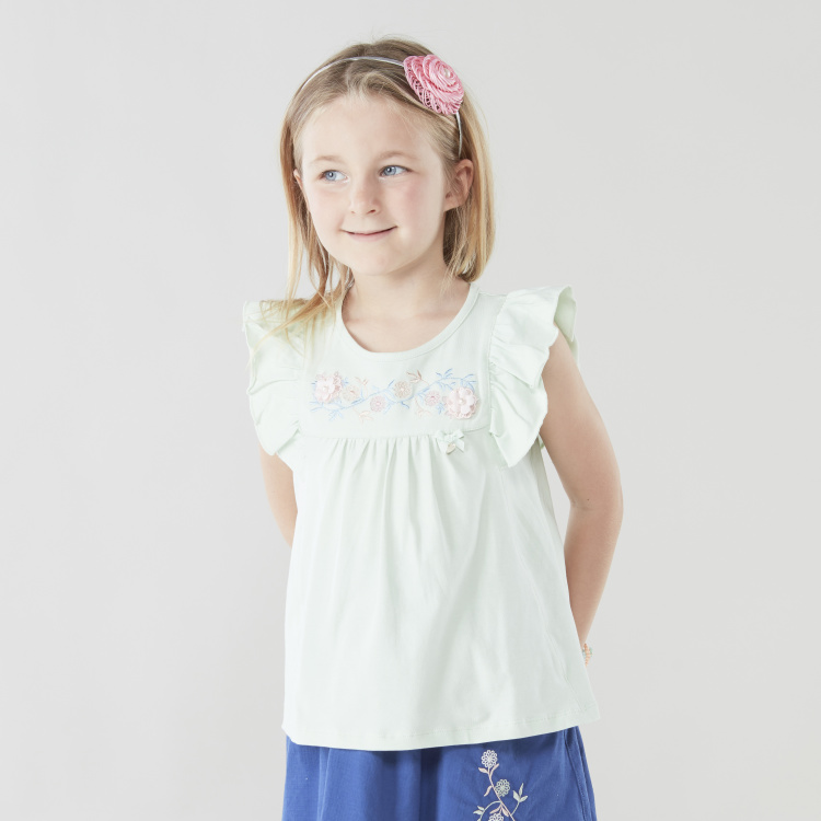 Floral Embroidered T-shirt with Applique and Ruffled Sleeves