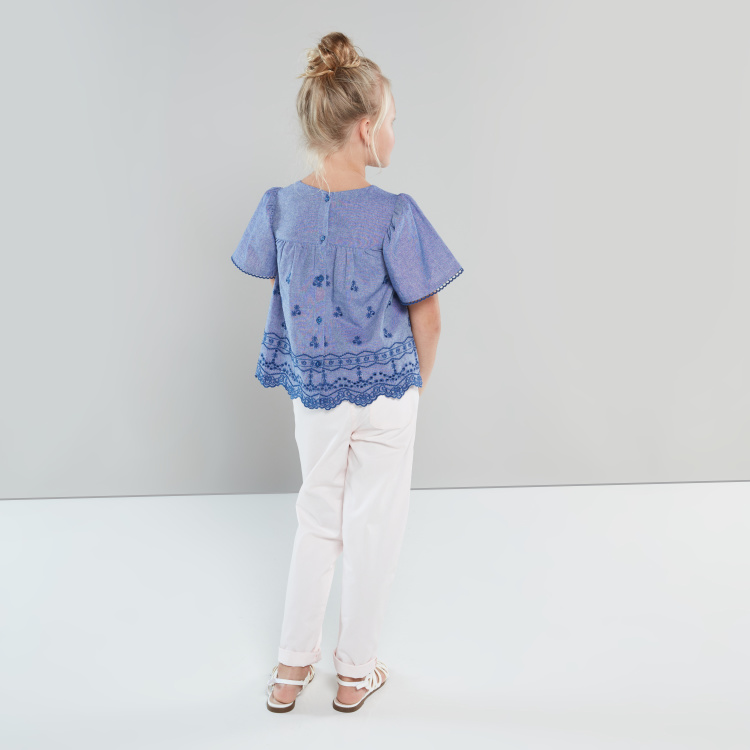 Eligo Embroidered Round Neck Blouse with Short Sleeves
