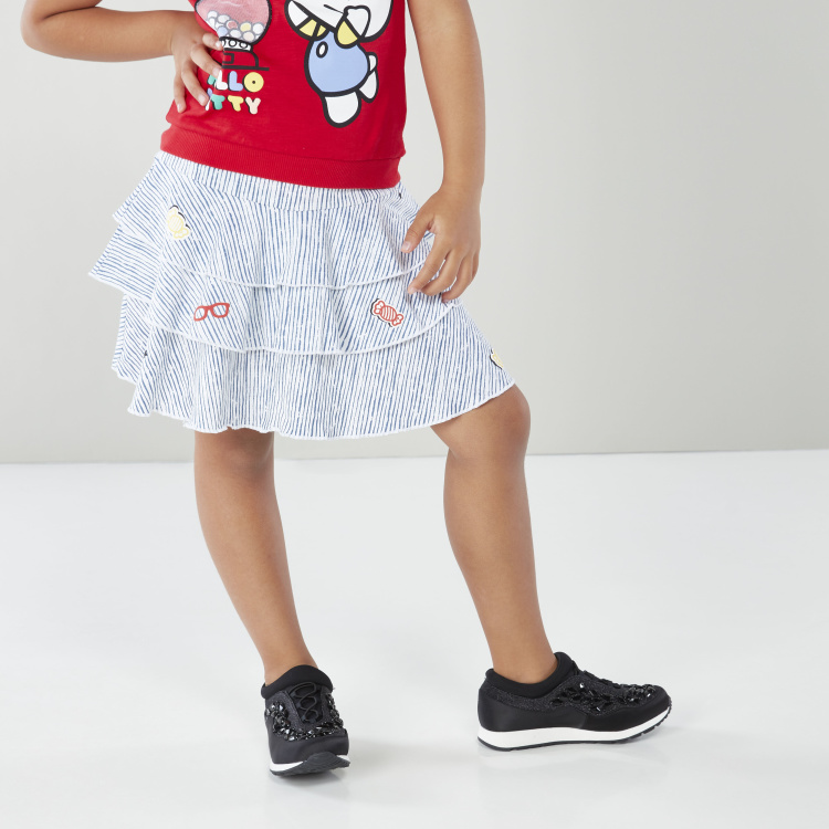 Sanrio Striped Flared Skirt with Applique