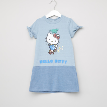 Hello Kitty Printed Round Neck Short Sleeves Dress