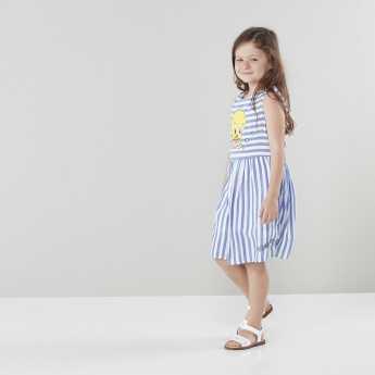 Warner Bros Tweety Printed Striped A-line Dress