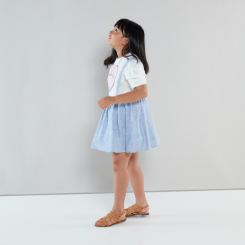 Juniors Striped Skirt with Suspenders and Bow Detail