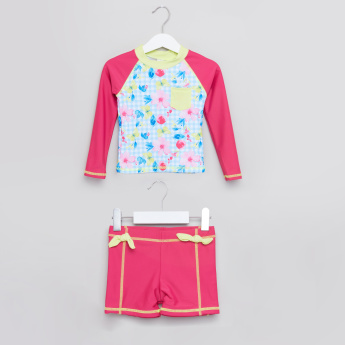 Juniors Printed Rashguard T-Shirt with Shorts