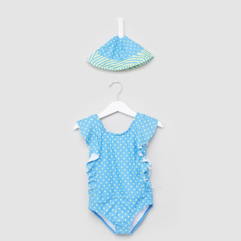 Juniors Polka Dot Printed Swimsuit with Cap
