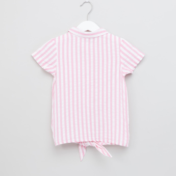 Juniors Striped Front Knot Detail Top