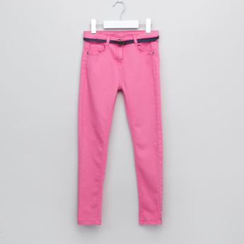 Juniors Belted Straight Leg Denim Pants
