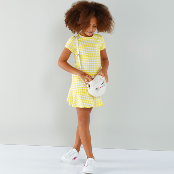 Juniors Chequered Round Neck Short Sleeves Dress