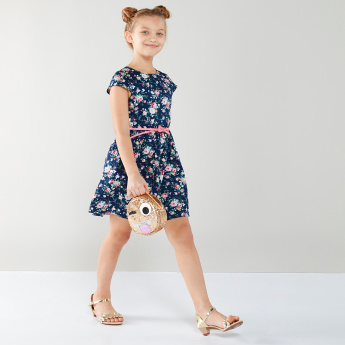 Juniors Floral Printed Belted Dress