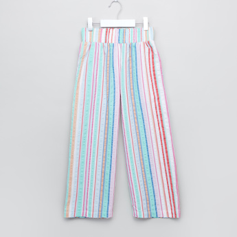 Juniors Textured Pants with Elasticised Waistband and Stripes