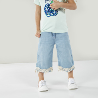 Juniors Lace Detail Jeans with Pockets