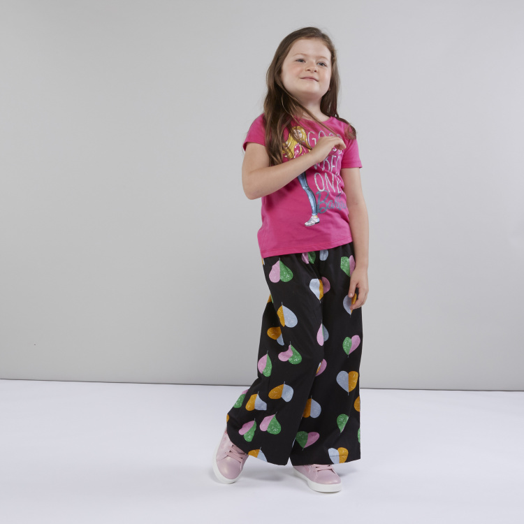 Juniors Printed Palazzo Pants with Elasticised Waistband