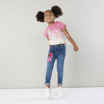 Juniors Denim Pants with Sequin Detail